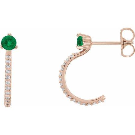 Genuine Emerald Earrings in 14 Karat Rose Gold Emerald & 1/6 Carat Diamond Hoop Earrings
