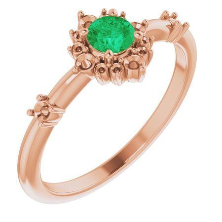 Genuine Emerald Ring in 14 Karat Rose Gold Emerald & 1/6 Carat Diamond Ring