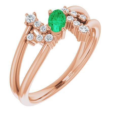 Genuine Emerald Ring in 14 Karat Rose Gold Emerald & 1/8 Carat Diamond Bypass Ring
