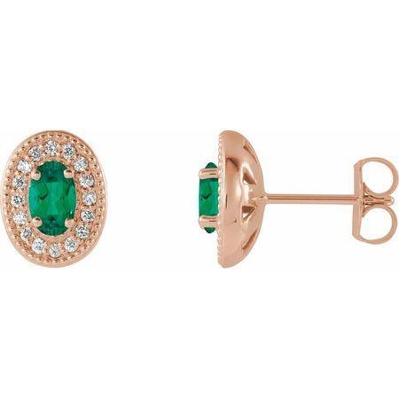 Genuine Emerald Earrings in 14 Karat Rose Gold Emerald & 1/8 Carat Diamond Halo-Style Earrings