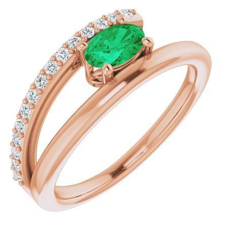 Genuine Emerald Ring in 14 Karat Rose Gold Emerald & 1/8 Carat Diamond Ring