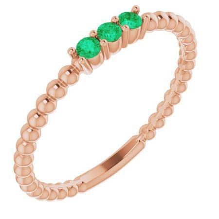 Genuine Emerald Ring in 14 Karat Rose Gold Emerald Beaded Ring