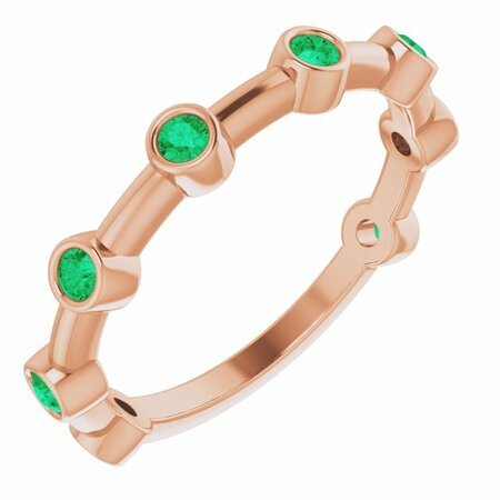 Genuine Emerald Ring in 14 Karat Rose Gold Emerald Bezel-Set Bar Ring