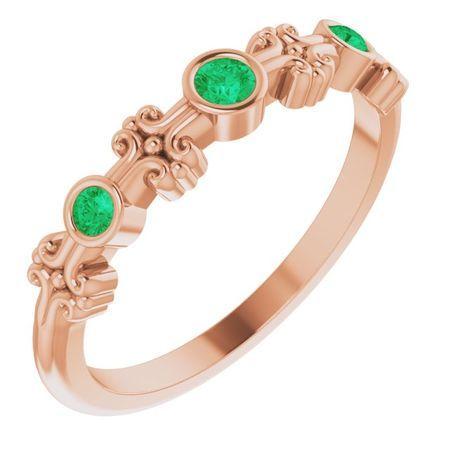 Genuine Emerald Ring in 14 Karat Rose Gold Emerald Bezel-Set Ring