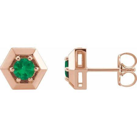 Genuine Emerald Earrings in 14 Karat Rose Gold Emerald Geometric Earrings