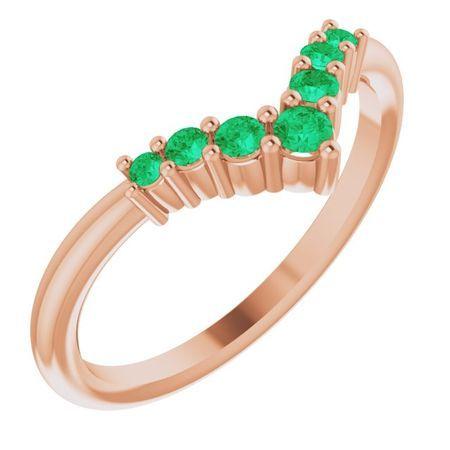 Genuine Emerald Ring in 14 Karat Rose Gold Emerald Graduated