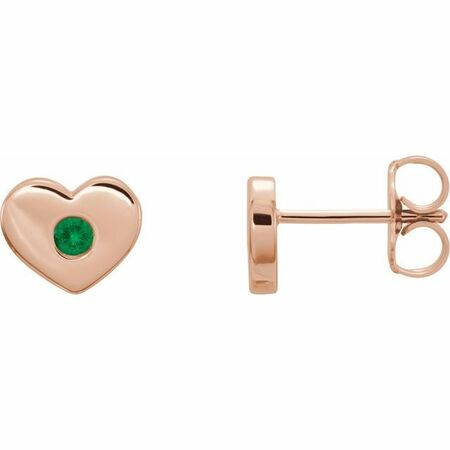Genuine Emerald Earrings in 14 Karat Rose Gold Emerald Heart Earrings