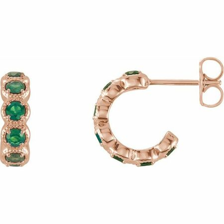 Genuine Emerald Earrings in 14 Karat Rose Gold Emerald Hoop Earrings