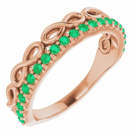 Genuine Emerald Ring in 14 Karat Rose Gold Emerald Infinity-Inspired Stackable Ring