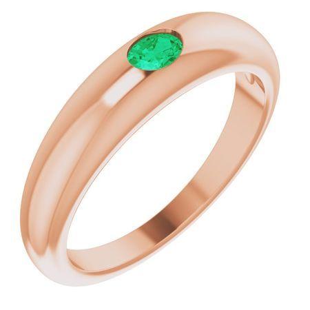 Genuine Emerald Ring in 14 Karat Rose Gold Emerald Petite Dome Ring