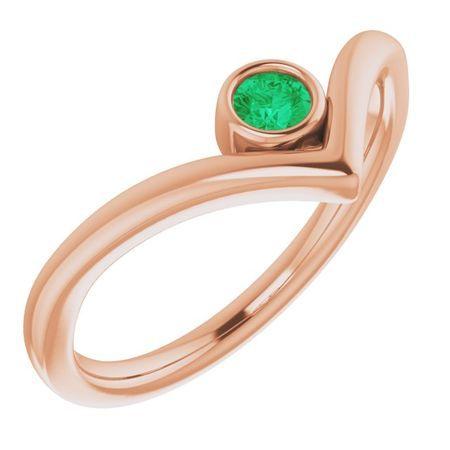 Genuine Emerald Ring in 14 Karat Rose Gold Emerald Solitaire Bezel-Set