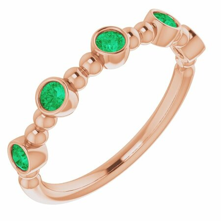 Genuine Emerald Ring in 14 Karat Rose Gold Emerald Stackable Beaded Ring
