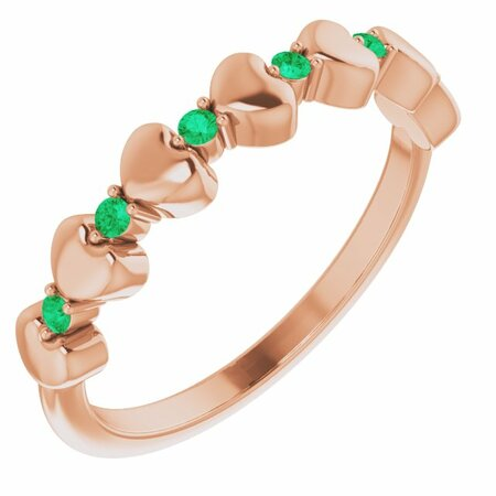 Genuine Emerald Ring in 14 Karat Rose Gold Emerald Stackable Heart Ring