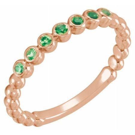 Genuine Emerald Ring in 14 Karat Rose Gold Emerald Stackable Ring