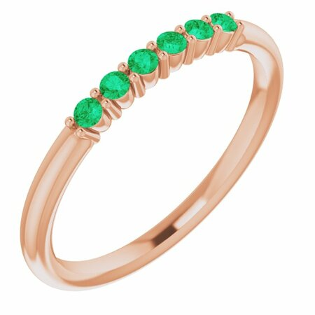 Genuine Emerald Ring in 14 Karat Rose Gold Emerald Stackable Ring
