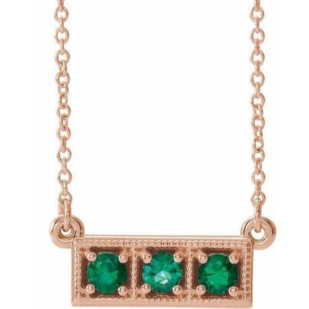 Genuine Emerald Necklace in 14 Karat Rose Gold Emerald Three-Stone Granulated Bar 16-18