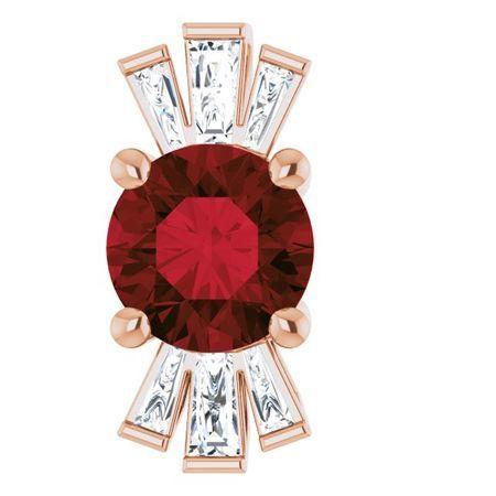 Red Garnet Pendant in 14 Karat Rose Gold Garnet & 1/6 Carat Diamond Pendant