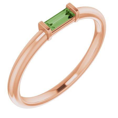 Pink Tourmaline Ring in 14 Karat Rose Gold Green Tourmaline Stackable Ring
