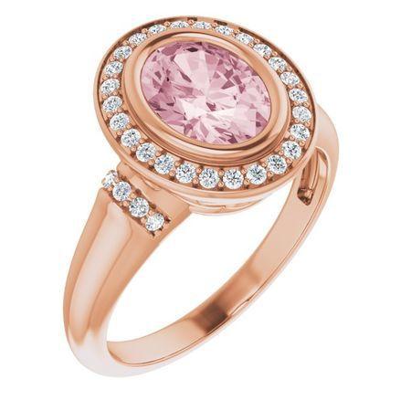 Pink Morganite Ring in 14 Karat Rose Gold Morganite & 1/5 Carat Diamond Ring