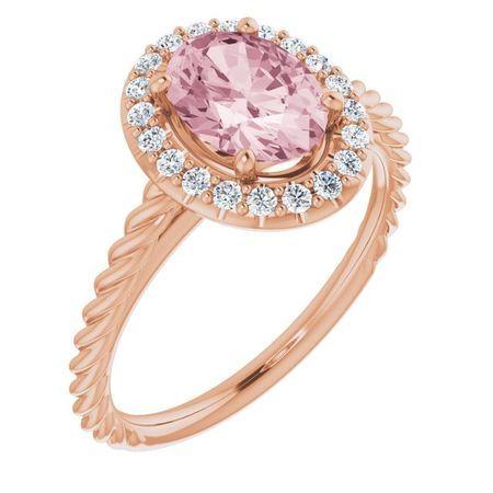 Pink Morganite Ring in 14 Karat Rose Gold Morganite & 1/6 Carat Diamond Ring