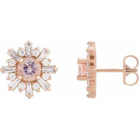 Pink Morganite Earrings in 14 Karat Rose Gold Morganite & 3/4 Carat Diamond Earrings