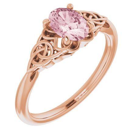 Pink Morganite Ring in 14 Karat Rose Gold Morganite Celtic-Inspired Ring