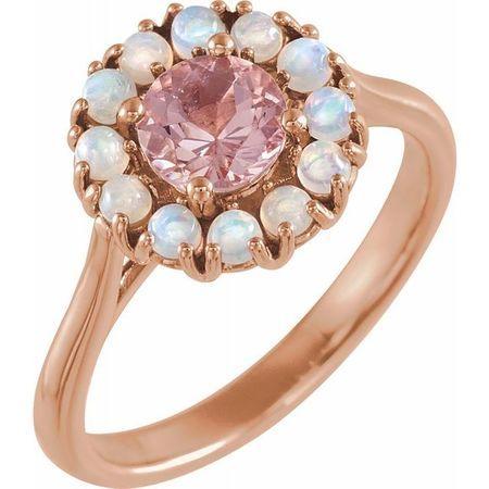 Pink Morganite Ring in 14 Karat Rose Gold Morganite & Ethiopian Opal Halo-Style Ring