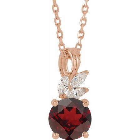 Red Garnet Necklace in 14 Karat Rose Gold Mozambique Garnet & 1/10 Carat Diamond 16-18