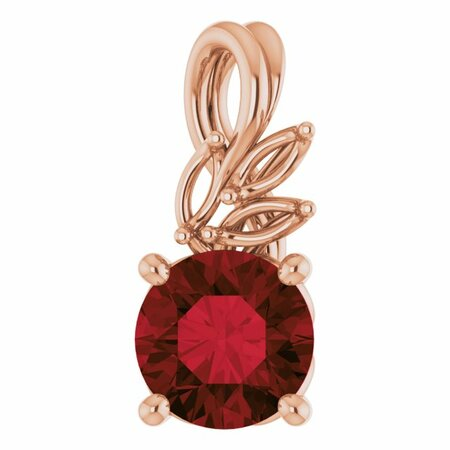 Red Garnet Pendant in 14 Karat Rose Gold Mozambique Garnet & 1/10 Carat Diamond Pendant