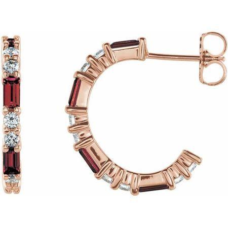 Red Garnet Earrings in 14 Karat Rose Gold Mozambique Garnet & 1/2 Carat Diamond Earrings
