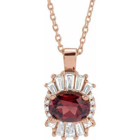 Red Garnet Necklace in 14 Karat Rose Gold Mozambique Garnet & 1/3 Carat Diamond 16-18