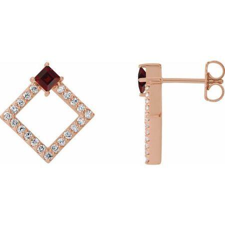 Red Garnet Earrings in 14 Karat Rose Gold Mozambique Garnet & 1/3 Carat Diamond Earrings