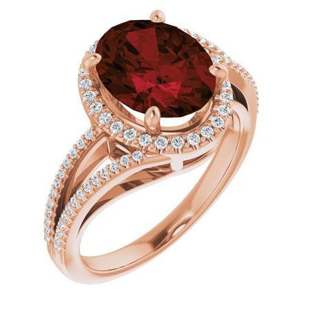 Red Garnet Ring in 14 Karat Rose Gold Mozambique Garnet & 1/4 Carat Diamond Ring