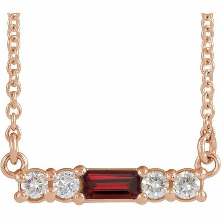 Red Garnet Necklace in 14 Karat Rose Gold Mozambique Garnet & 1/5 Carat Diamond 18