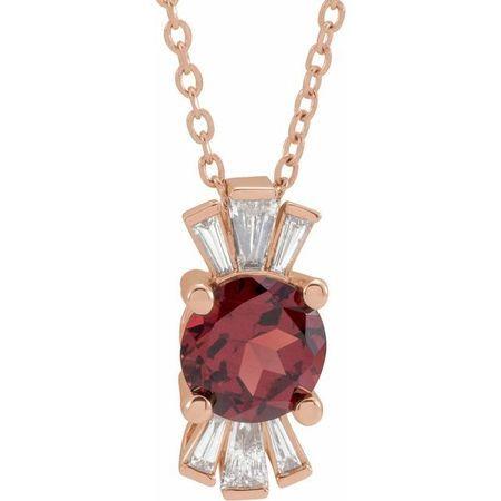 Red Garnet Necklace in 14 Karat Rose Gold Mozambique Garnet & 1/6 Carat Diamond 16-18