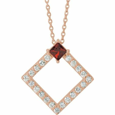 Red Garnet Necklace in 14 Karat Rose Gold Mozambique Garnet & 3/8 Carat Diamond 16-18