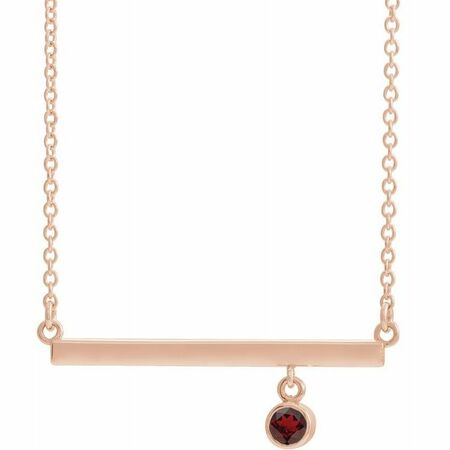 Red Garnet Necklace in 14 Karat Rose Gold Mozambique Garnet Bezel-Set 16