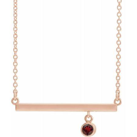 Red Garnet Necklace in 14 Karat Rose Gold Mozambique Garnet Bezel-Set 18