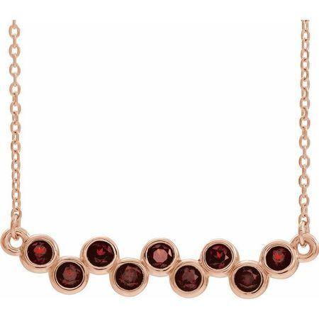 Red Garnet Necklace in 14 Karat Rose Gold Mozambique Garnet Bezel-Set Bar 16-18