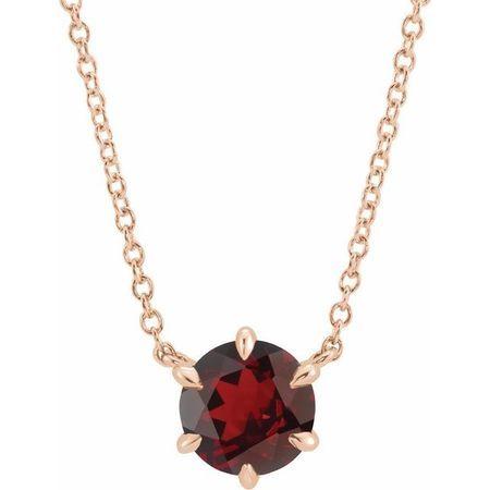 Red Garnet Necklace in 14 Karat Rose Gold Mozambique Garnet Solitaire 18
