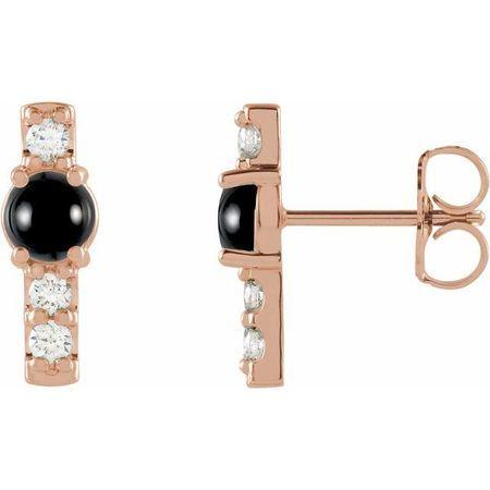 Black Black Onyx Earrings in 14 Karat Rose Gold Onyx & 1/5 Carat Diamond Bar Earrings