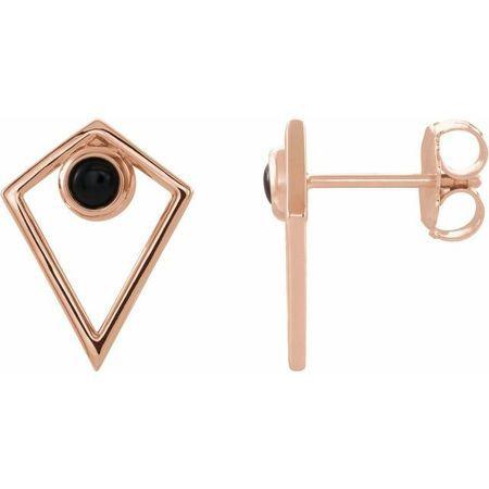 Black Black Onyx Earrings in 14 Karat Rose Gold Onyx Cabochon Pyramid Earrings