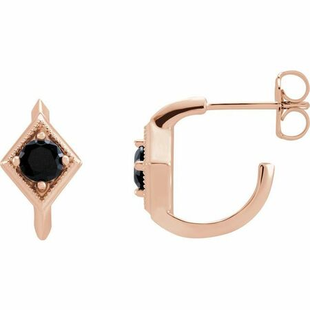 Black Black Onyx Earrings in 14 Karat Rose Gold Onyx Geometric Hoop Earrings