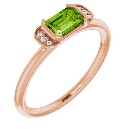 Genuine Peridot Ring in 14 Karat Rose Gold Peridot & .02 Carat Diamond Stackable Ring