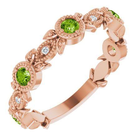 Genuine Peridot Ring in 14 Karat Rose Gold Peridot & .03 Carat Diamond Leaf Ring