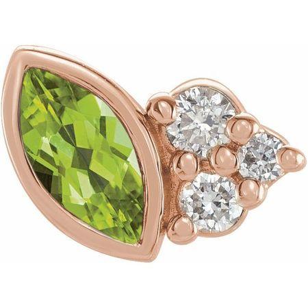 14 Karat Rose Gold Peridot & .03 Carat Weight Diamond Left Earring
