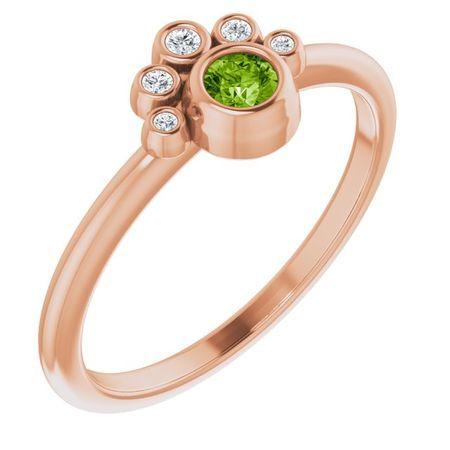 Genuine Peridot Ring in 14 Karat Rose Gold Peridot & .04 Carat Diamond Ring