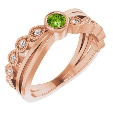 Genuine Peridot Ring in 14 Karat Rose Gold Peridot & .05 Carat Diamond Ring