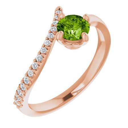 Genuine Peridot Ring in 14 Karat Rose Gold Peridot & 1/10 Carat Diamond Bypass Ring
