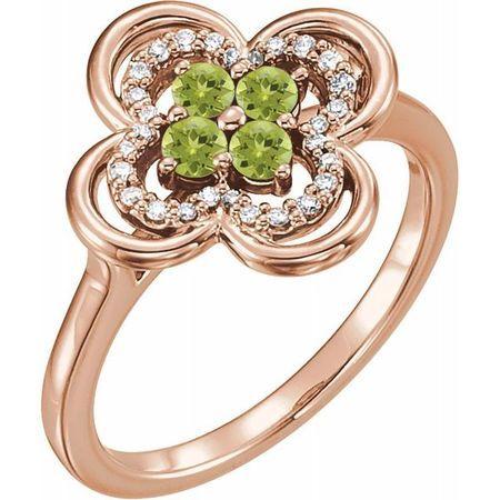 Genuine Peridot Ring in 14 Karat Rose Gold Peridot & 1/10 Carat Diamond Ring